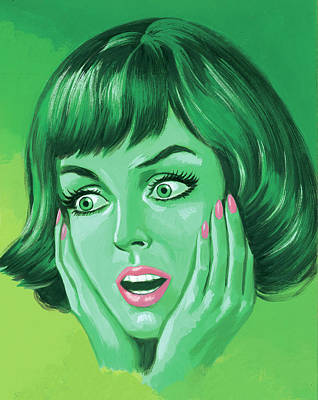 Digital Art - Green Woman Holding Her Face by Csa Images