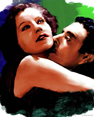 Black And White Horse Photography - Greta Garbo and John Gilbert painting by Stars on Art