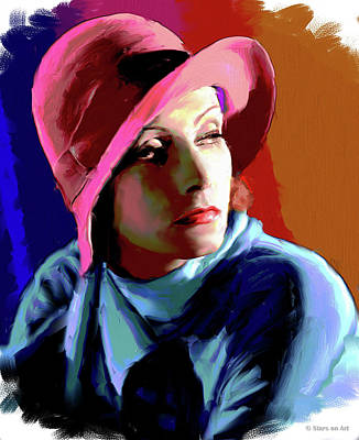 Curated Bath Towels - Greta Garbo painting by Stars on Art