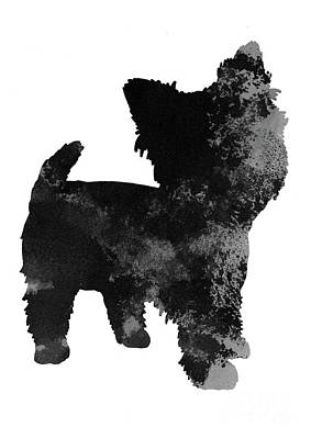 Painting - Grey And Black Silhouette Of A Yorkie Facing Right by Joanna Szmerdt
