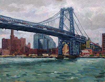 Painting - Grey And Blue Williamsburg Bridge Nyc by Thor Wickstrom