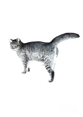 Painting - Grey Cat Painting Domestic Animal Poster Nursery Greyish Kitty by Joanna Szmerdt