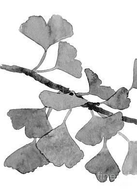 Gingko Wall Art - Painting - Grey Gingko Part One Watercolor Illustration Canvas Watercolour Plant Poster by Joanna Szmerdt