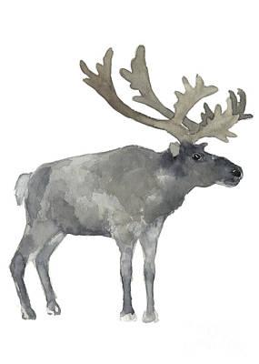 Reindeer Painting - Grey Reindeer by Joanna Szmerdt