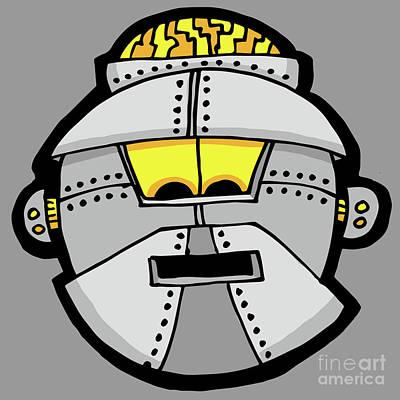 Digital Art - Grey Robot Head 8 by Sean McMenemy