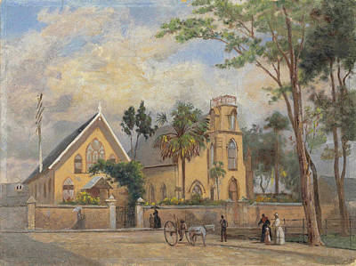 Painting - Greyfriars Church, Frederick Street, Port Of Spain, Trinidad by Michel Jean Cazabon