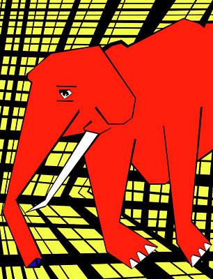 Digital Art - Gridismjr 3 Red Elephant by Artist Dot