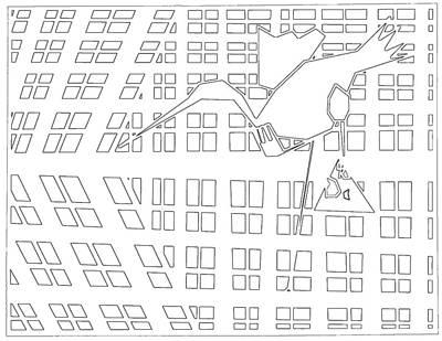 Digital Art - Gridismjr Bandw Crane by Artist Dot