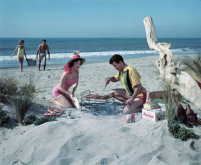 Photograph - Grilling On The Beach by Tom Kelley Archive
