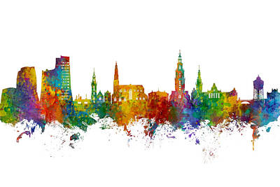 Digital Art - Groningen The Netherlands Skyline by Michael Tompsett