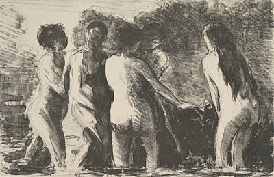 Relief - Group Of Bathers by Camille Pissarro