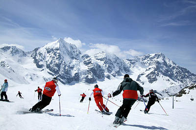 Ski Resort Photograph - Group Of Skiers On The Slope, Ortler by Jan Greune / Look-foto