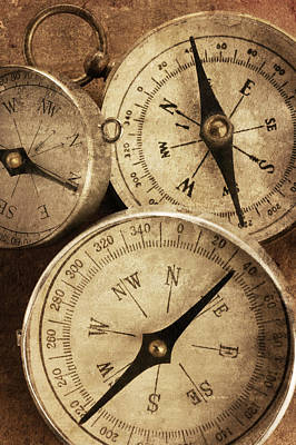 Topography Wall Art - Photograph - Group Of Three Compasses With Textured by Dny59