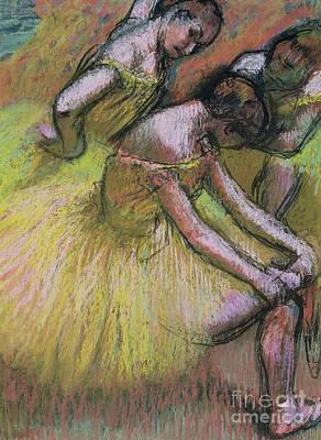 Pastel - Group Of Three Dancers by Edgar Degas