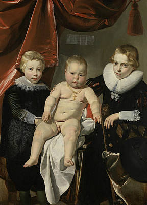 Painting - Group Portrait Of Three Brothers by Thomas de Keyser