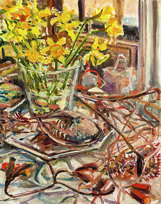 Painting - Grouse, Daffodiles And Dried Flowers by Ann Heideman