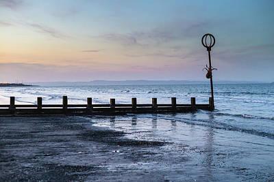 Photograph - Groyne and marker post at dusk by Diarmid Weir