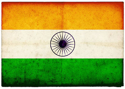 Indian Culture Photograph - Grunge Indian Flag On Rough Edged Old by Abzee