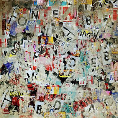 Surrealism Mixed Media - Grunge letter poster background  by Jelena Jovanovic