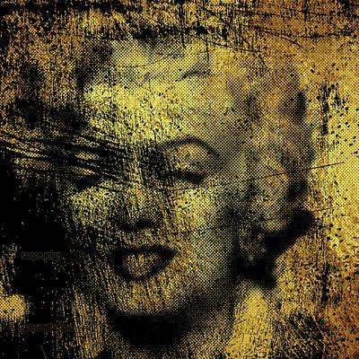 Painting - Grunge Marilyn Monroe In Gold 48x48 Huge Pop Art  by Robert R Splashy Art Abstract Paintings