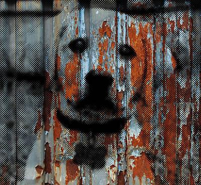 Painting - Grunge Puppy Silkscreen Halftone by Robert R Splashy Art Abstract Paintings