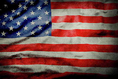 Photograph - Grunge Usa Flag by Les Cunliffe