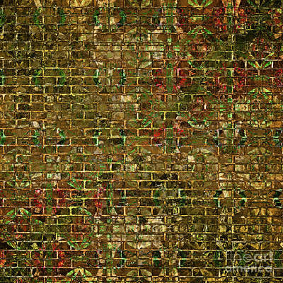 Digital Art -  Grunge Wall Of Gold One by John Groves
