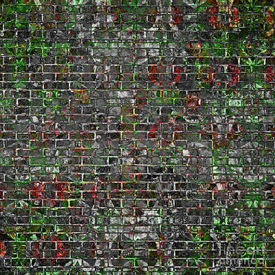Digital Art - Grunge Wall Of Mould And Green by John Groves
