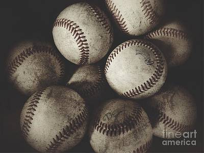 Photograph - Grungy Baseballs On A Shelf by Leah McPhail