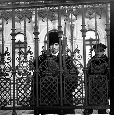 Photograph - Guard Inside Iron Fence At Foreign by Margaret Bourke-white