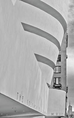 Photograph - Guggenheim Museum And Esb Bw by Susan Candelario