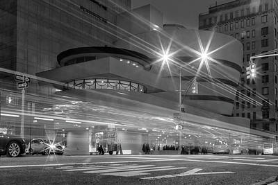 Photograph - Guggenheim Museum Nyc Light Streaks Bw by Susan Candelario