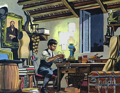 Painting - Guglielmo Marconi, As A Boy, In The Attic Of His Home In Bologna, Italy  by Ron Embleton