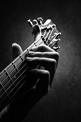 Musicians Photos - Guitarist hand close-up by Johan Swanepoel