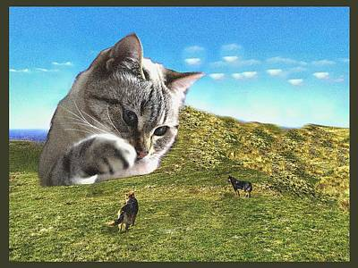 Digital Art - Gulliver's Cat Meets Abbie's Dogs  by Shelli Fitzpatrick