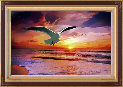 Mixed Media - Gulls At Sunset by Clive Littin