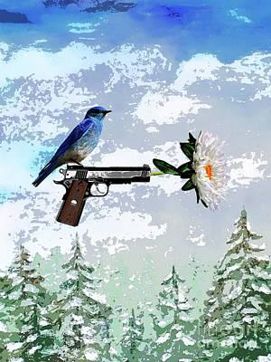Digital Art - Bluebird Of Happiness- Flower In A Gun by Shelley Myers