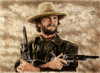 Drawing - Gunfighter Sepia And Colour by Andrew Read