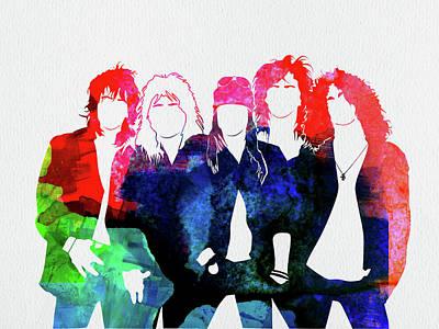 Guns Wall Art - Mixed Media - Guns N' Roses Watercolor by Naxart Studio
