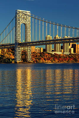 Politicians Royalty-Free and Rights-Managed Images - GW Bridge-Autumn Sundown Reflections by Regina Geoghan