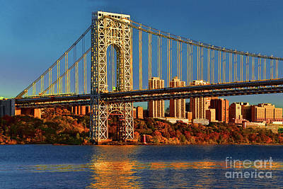 Politicians Royalty-Free and Rights-Managed Images - GW Bridge Tower- the Golden Hour by Regina Geoghan