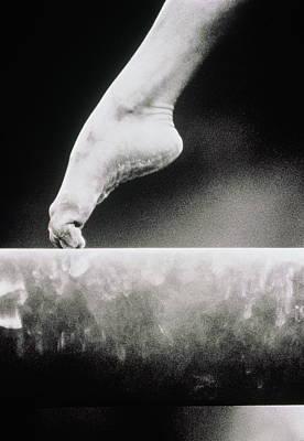 Balance Photograph - Gymnastics, Girls Foot On Balance Beam by David Madison