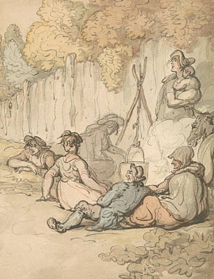 Drawing - Gypsies Cooking On An Open Fire by Thomas Rowlandson