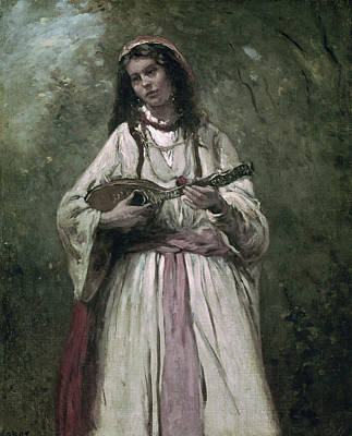 Mandolin Painting - Gypsy Girl With Mandolin By by Superstock