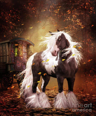 Digital Art - Gypsy Gold Vanner Horse by Shanina Conway