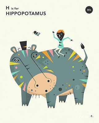 Hippo Wall Art - Digital Art - H Is For Hippopotamus 2 by Jazzberry Blue
