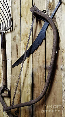 Photograph - Hack Saw On Barn Wall by Mary Capriole