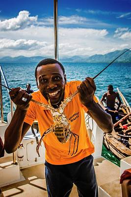 Photograph - Haitian Lobster Salesman by Max Huber