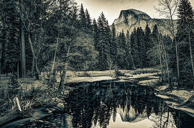 Landscapes Royalty-Free and Rights-Managed Images - Half Dome Mountain Landscape Reflections in Sepia - Yosemite National Park by Gregory Ballos