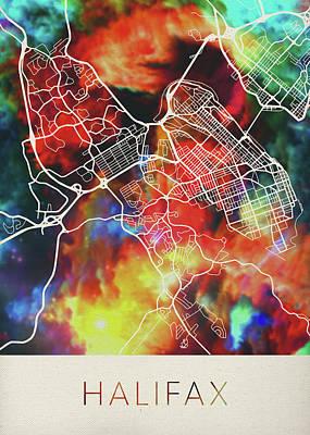 Nova Scotia Wall Art - Mixed Media - Halifax Nova Scotia Canada Watercolor City Street Map by Design Turnpike